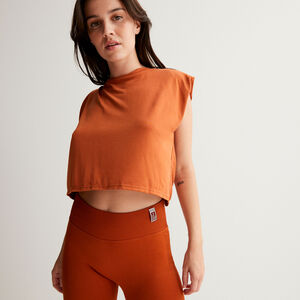 Open back top with ties at the shoulders - brown