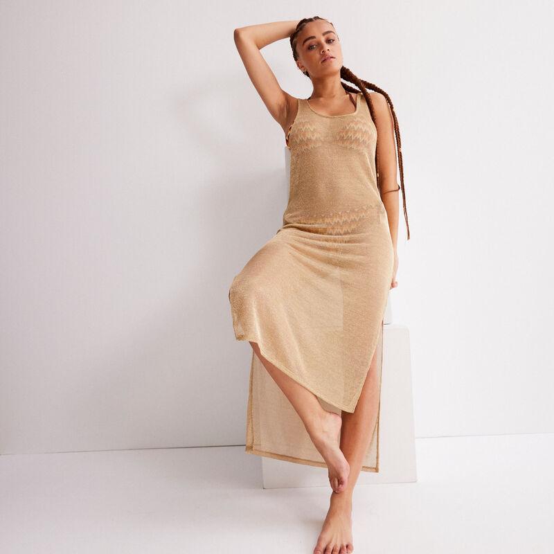 See-through mid-length dress - beige;