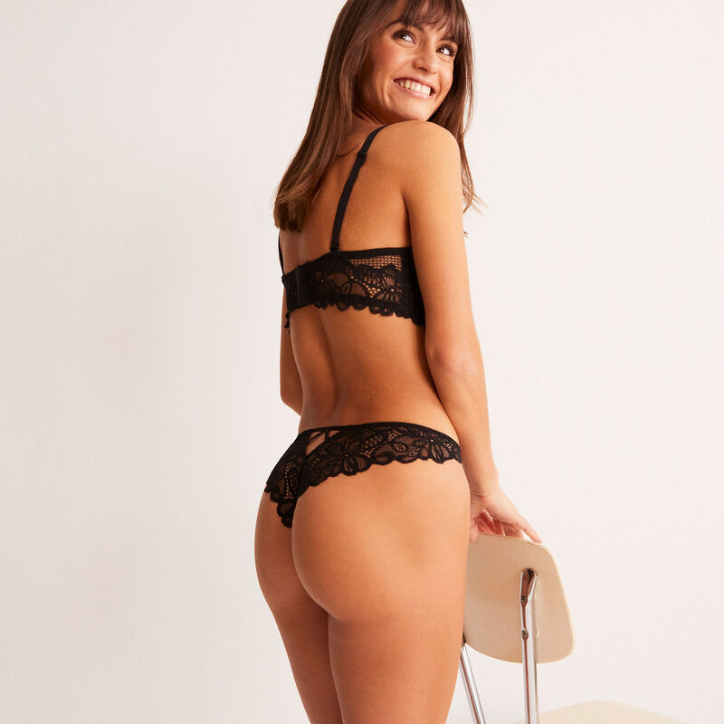 lace briefs with ring details - black;