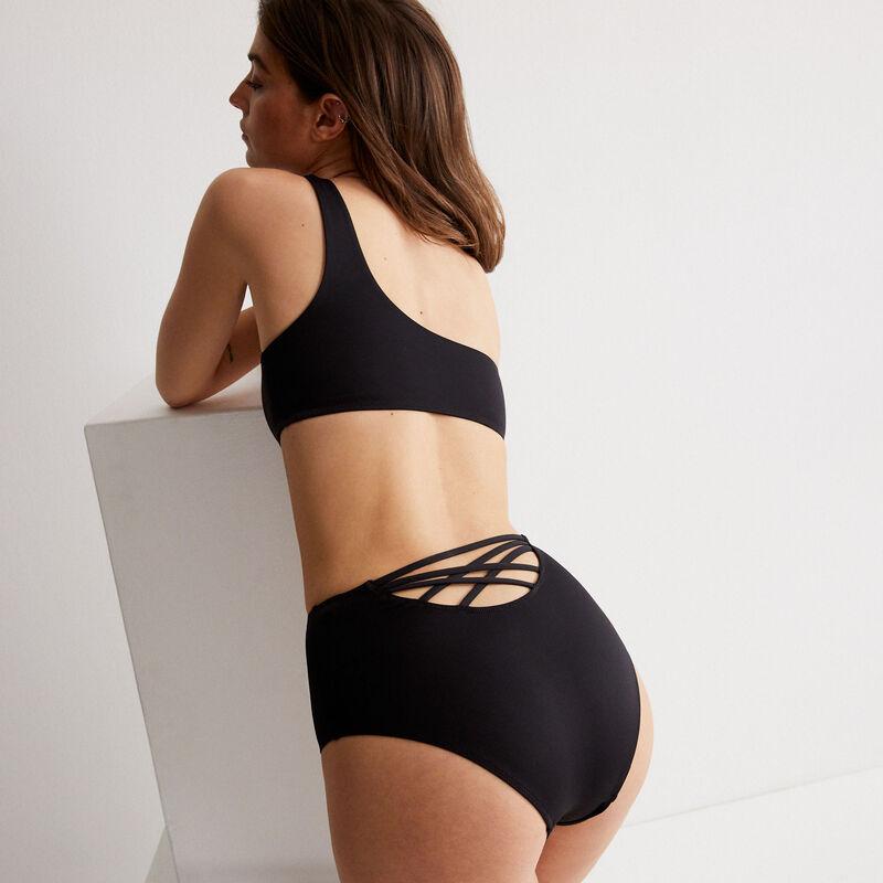 High-waisted bikini briefs - black;