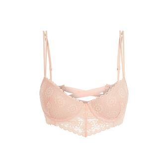 Laceriz pink figure-enhancing bustier bra pink.