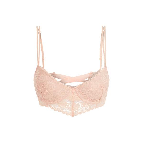 Laceriz pink figure-enhancing bustier bra;