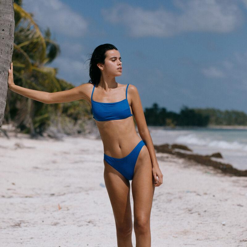 plain bralette bikini top - blue;