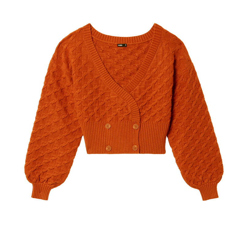 knitted cropped wrapover cardigan - brown;