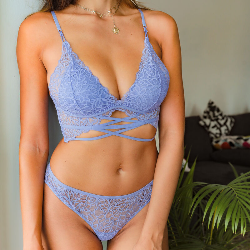 Lace triangle push up bra - sky blue;