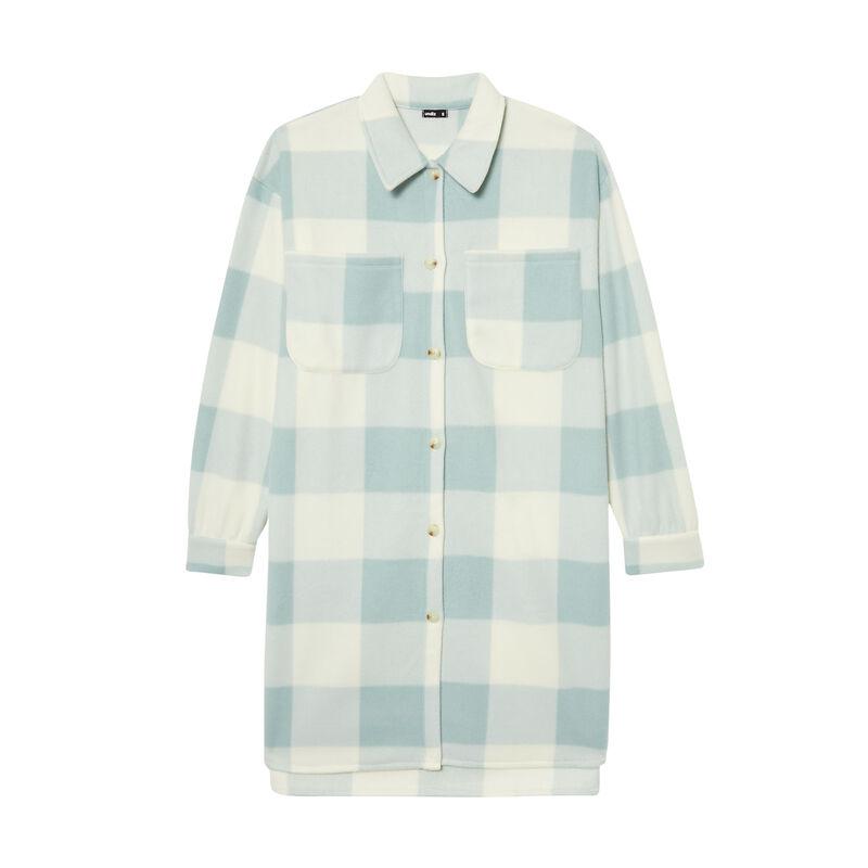 veste polaire longue imprimé vichy - vert d'eau;