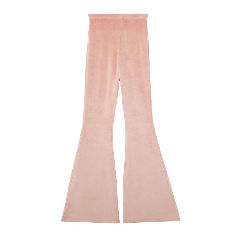 welurowe spodnie dzwony z wysokim stanem — kolor nude;