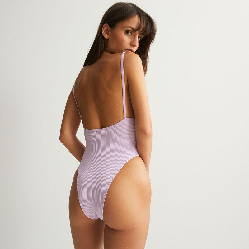 high-waisted high-leg backless body - lilac;