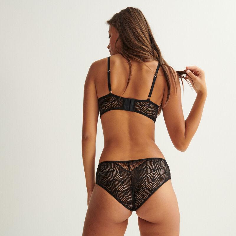 lace symmetric effect briefs - black;