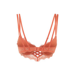 Totoiz brick orange push-up bustier bra orange.