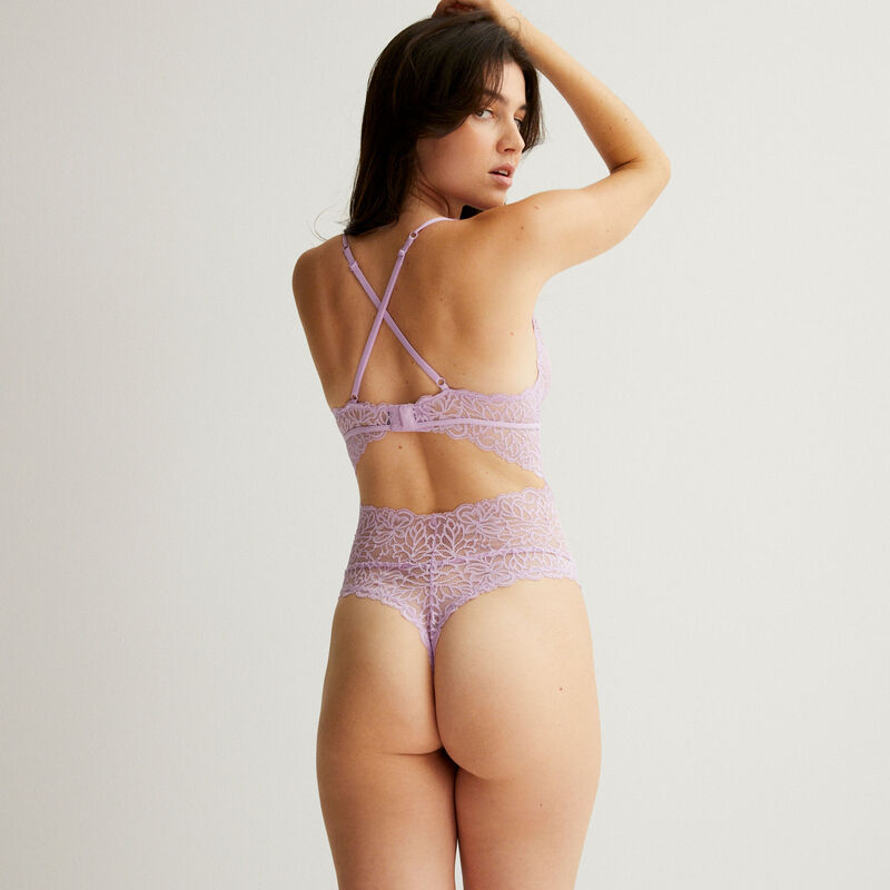 openwork non-wired bodysuit with lacing - lilac;