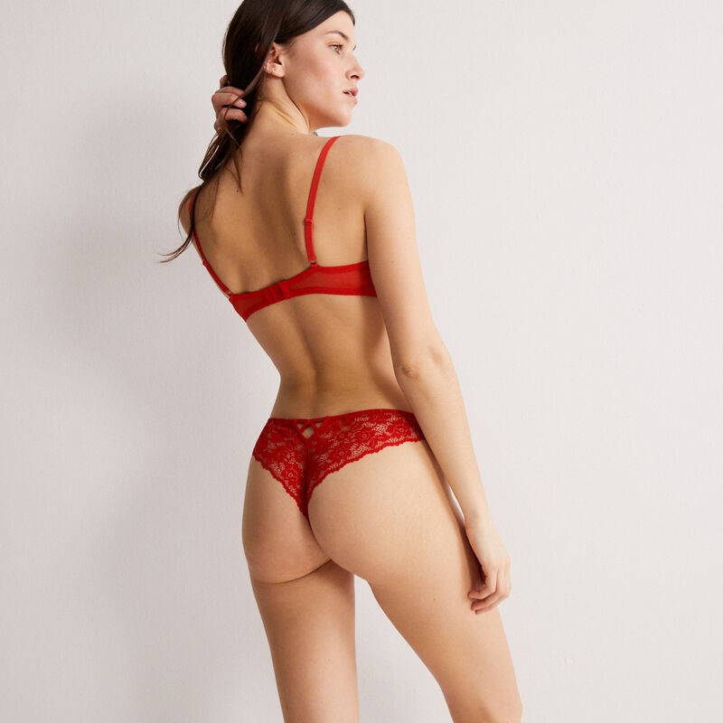 floral lace tanga briefs - red;