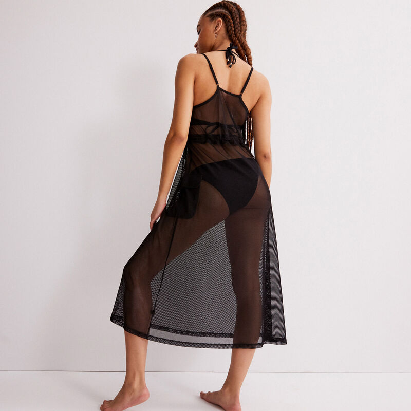 sheer tulle dress with elastic detail - black;