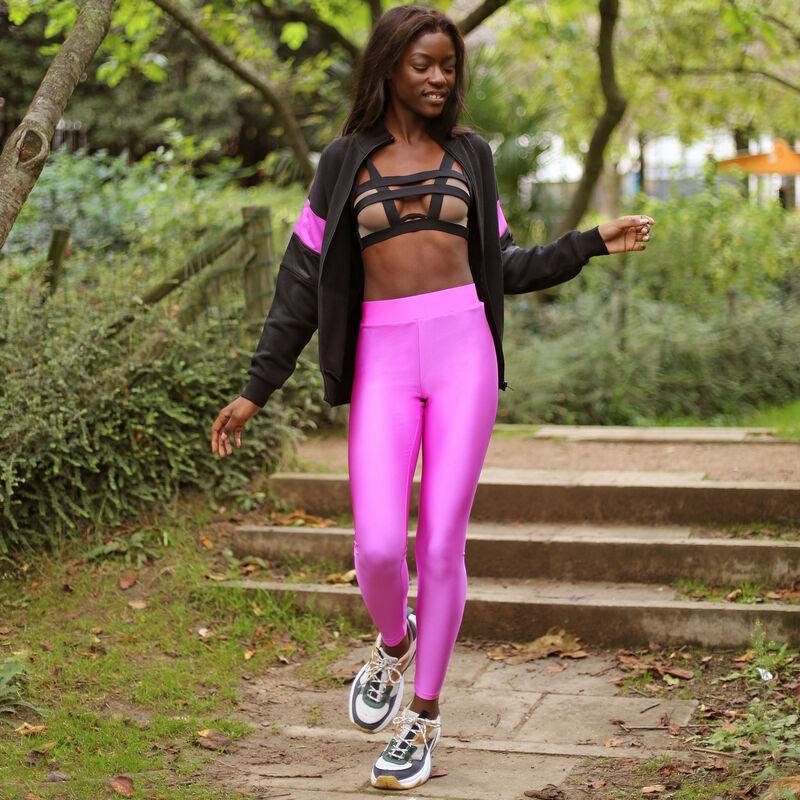 Plain Lycra leggings - pink;