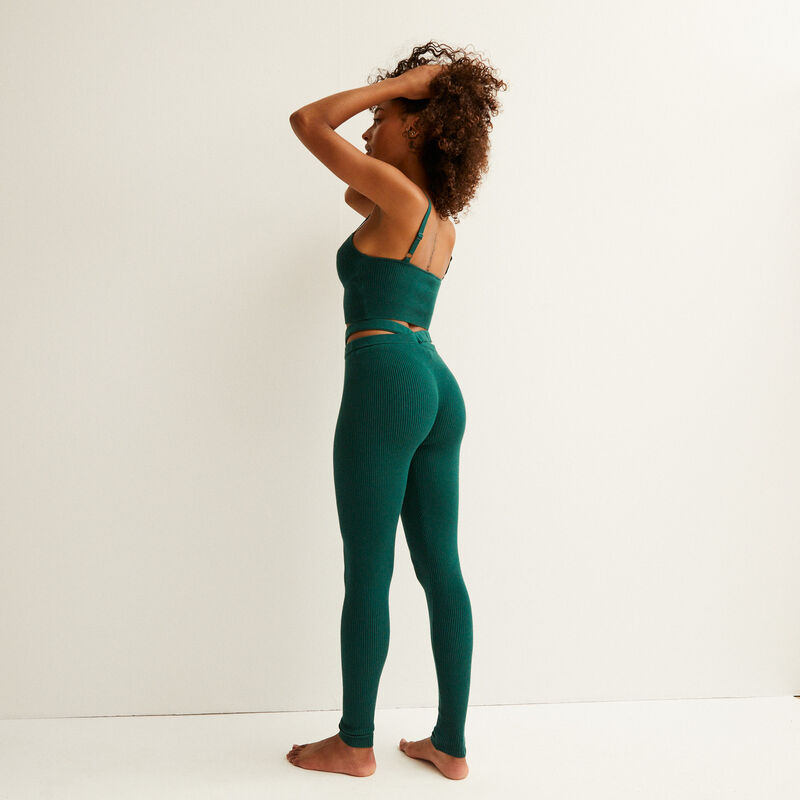 knitted strappy crop top - fir green;