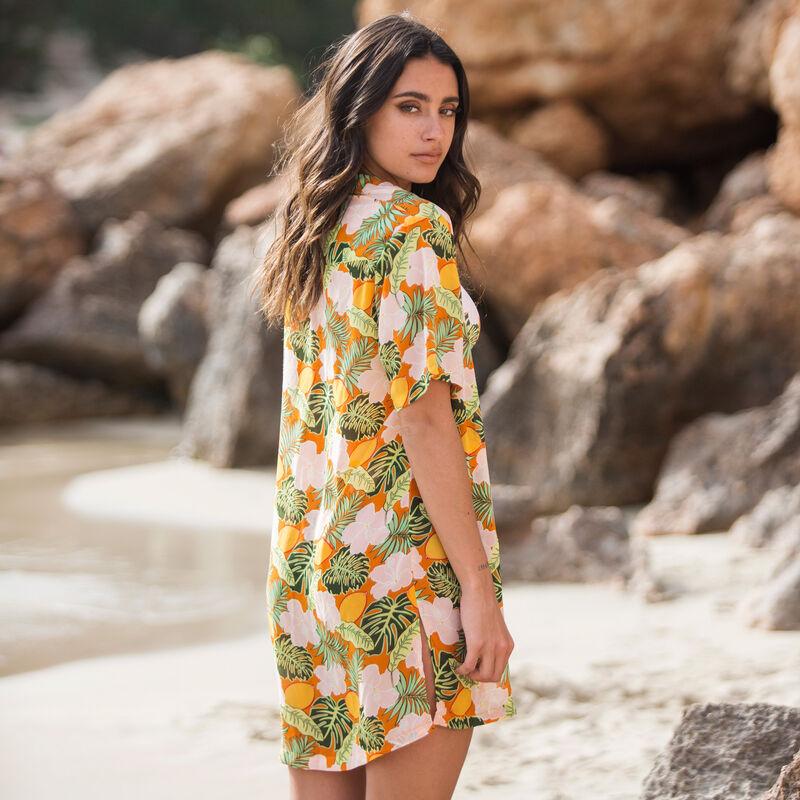 tropical print beach shirt - orange;
