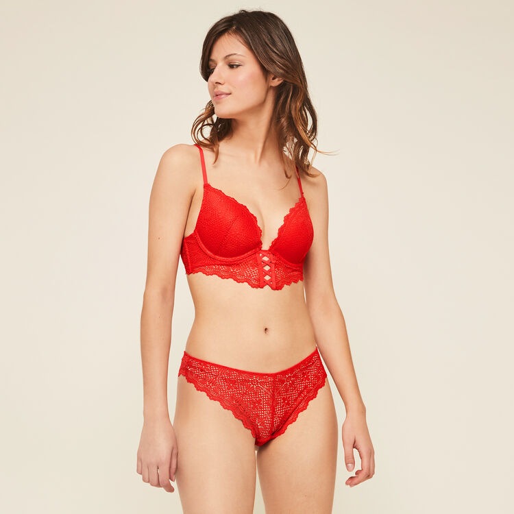 Mahaliz red push-up bustier bra;