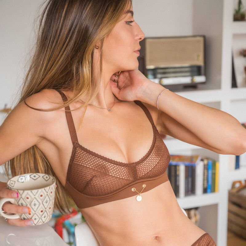 non-wired bralette with medallion detail - brown;