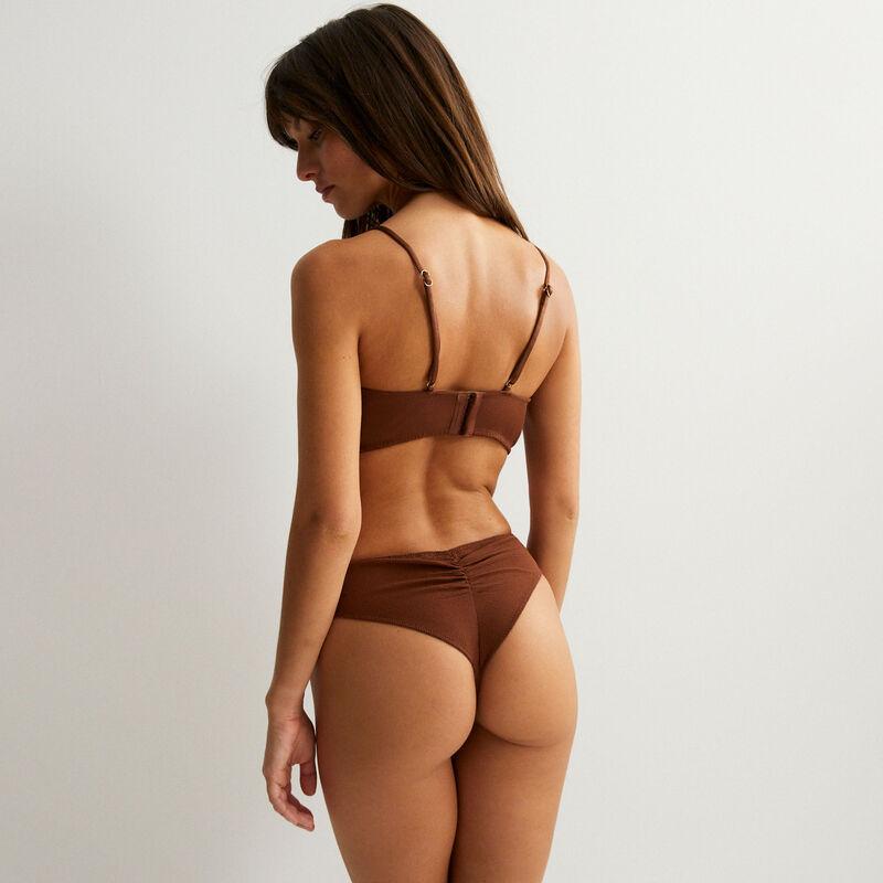 brazyliany tanga satynowe — kolor brązowy;