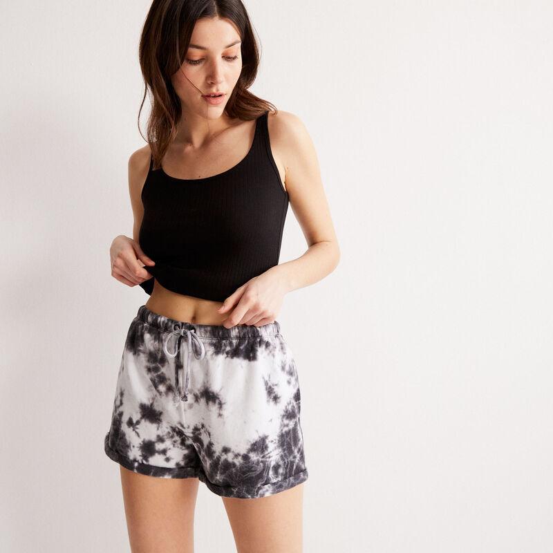 tie-dye-effect shorts with drawstring detail - black;