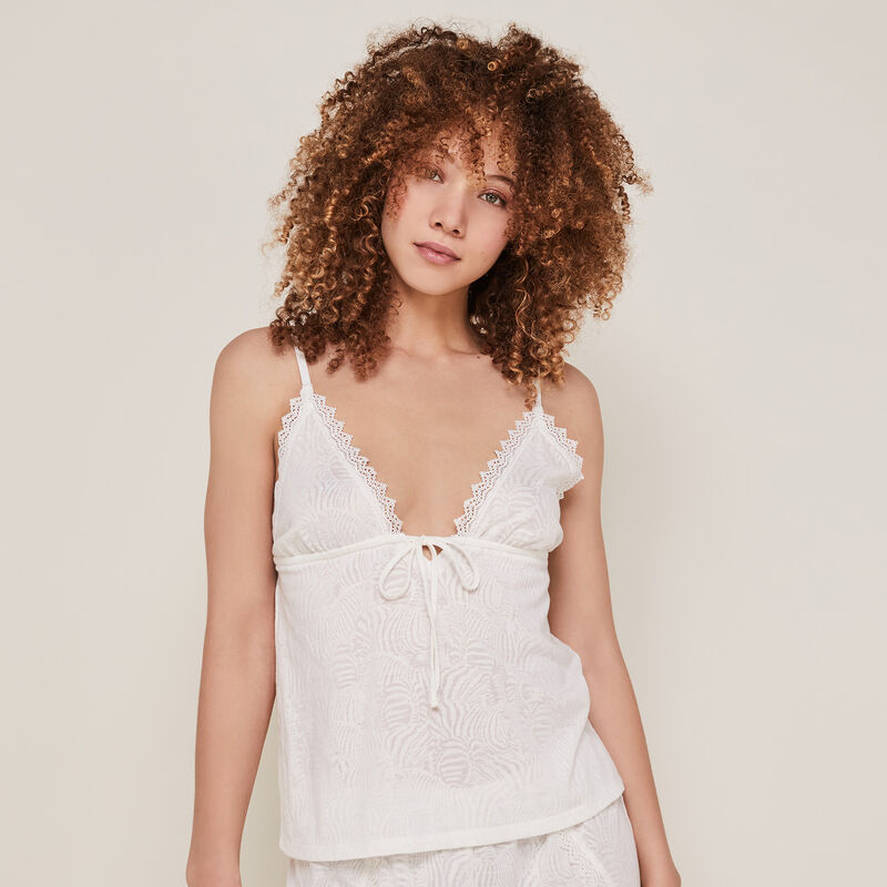 Plain top with thin straps - white;