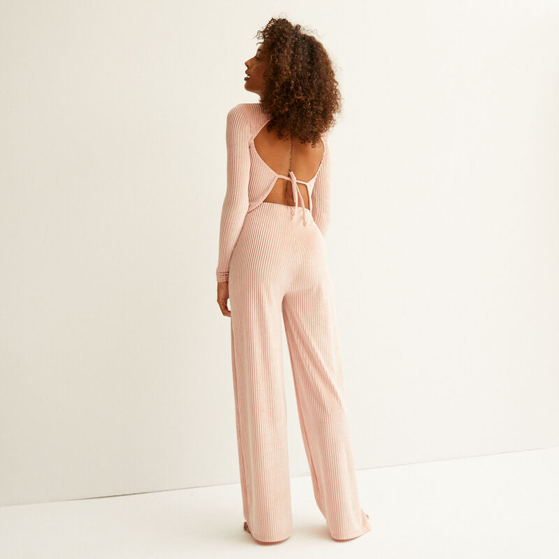 high collar back lacing top - nude pink;