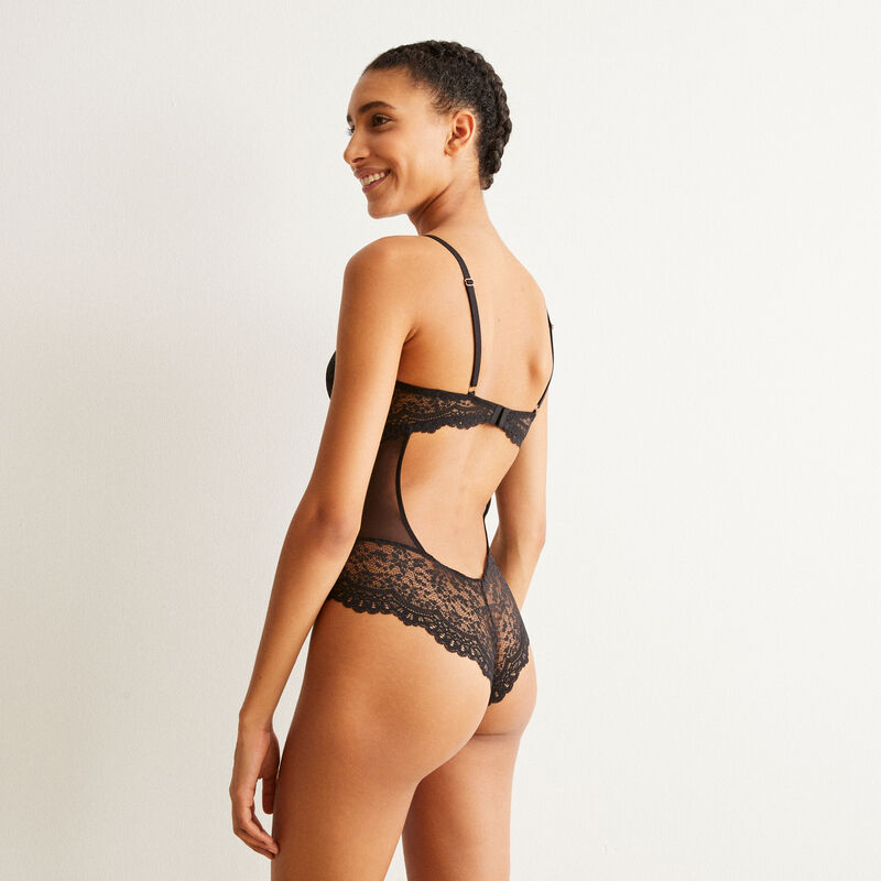 lace body with straps and lacing - black ;