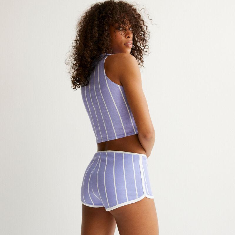 шорты в полоску с принтом «Стич» - синий;