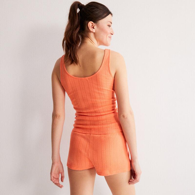 plain pointelle knit tank top - red;