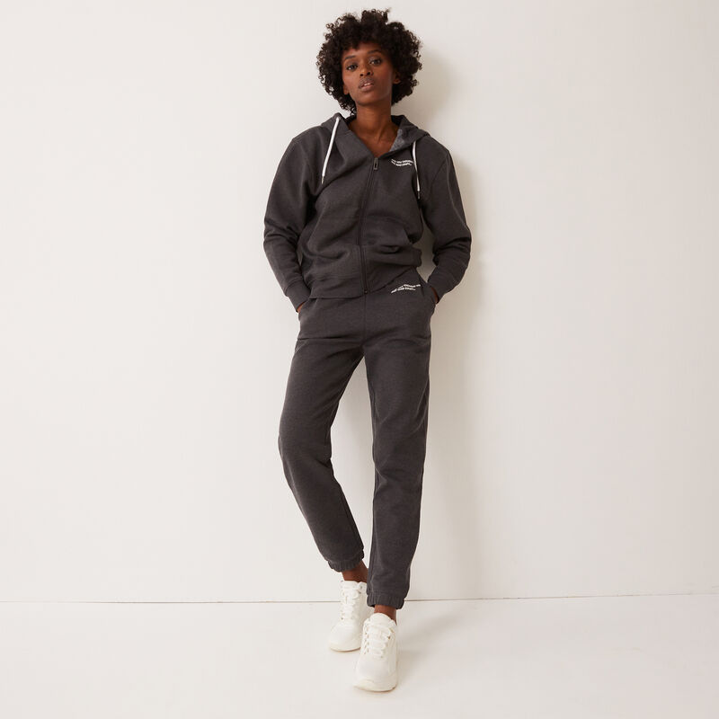 slogan trousers gathered at the waist and ankles - grey;