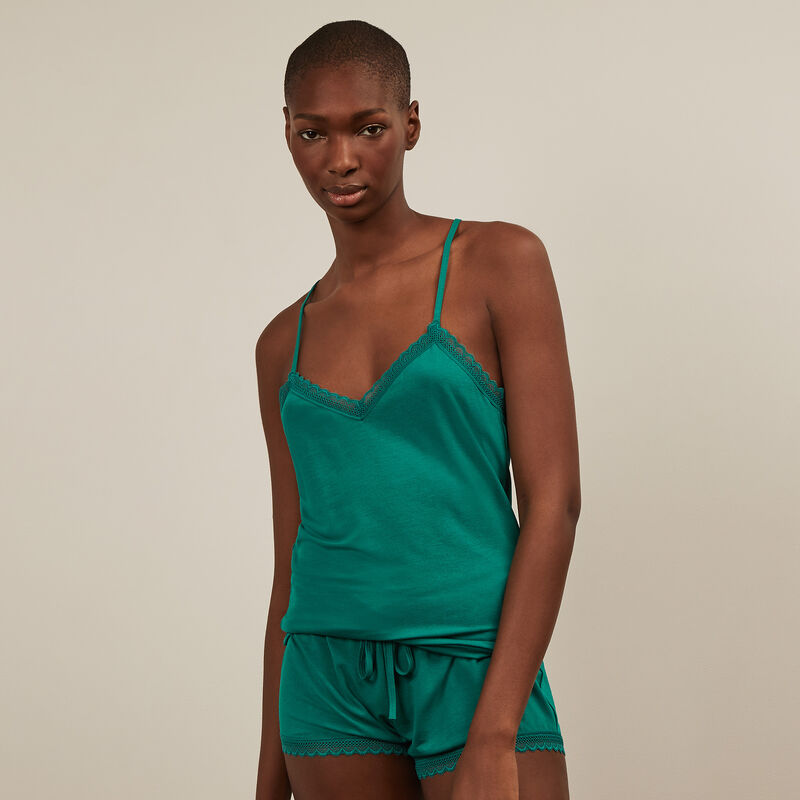 Jersey top with spaghetti straps - green  ;
