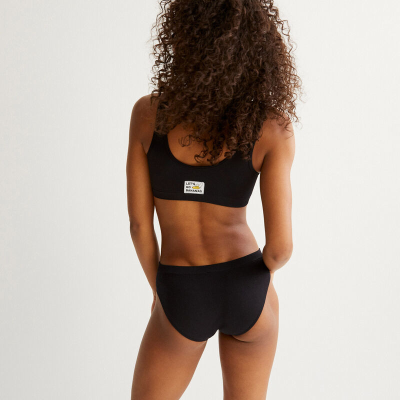 banana bralette with laced detail - black;