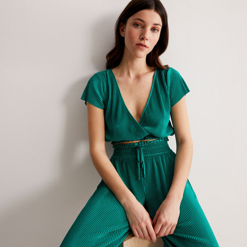 pleated elasticated gathered trousers - green;