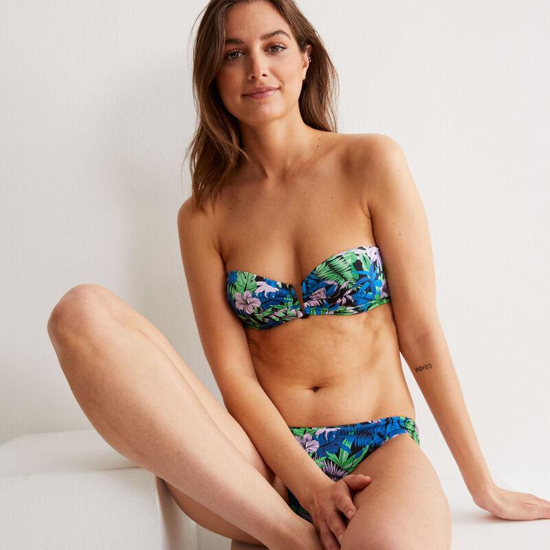 Tropical print bandeau bikini top - black;