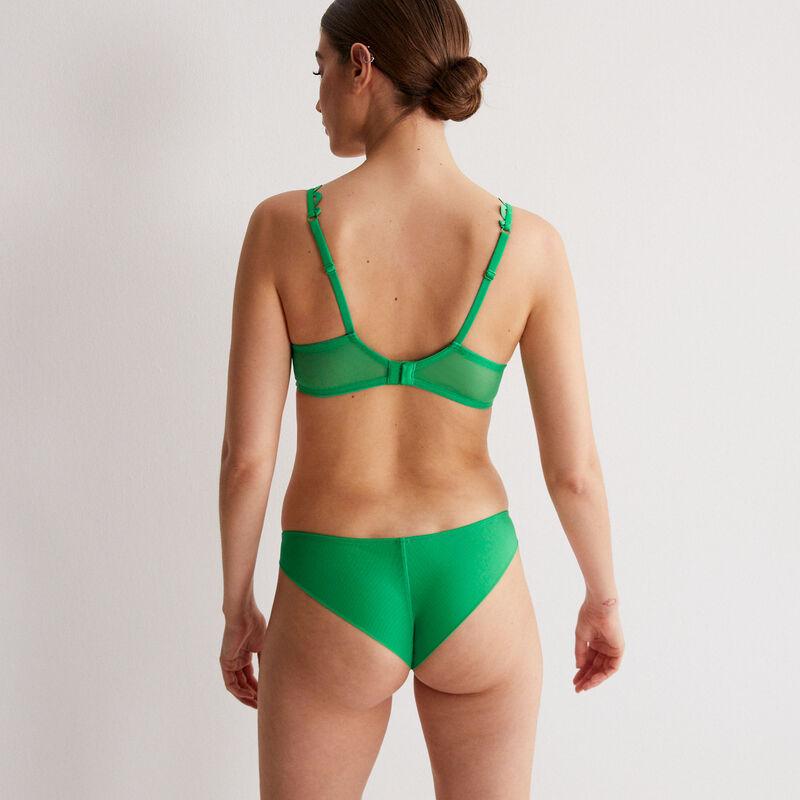 tiulowy biustonosz half-cup z kwiatowym haftem — kolor zielony;