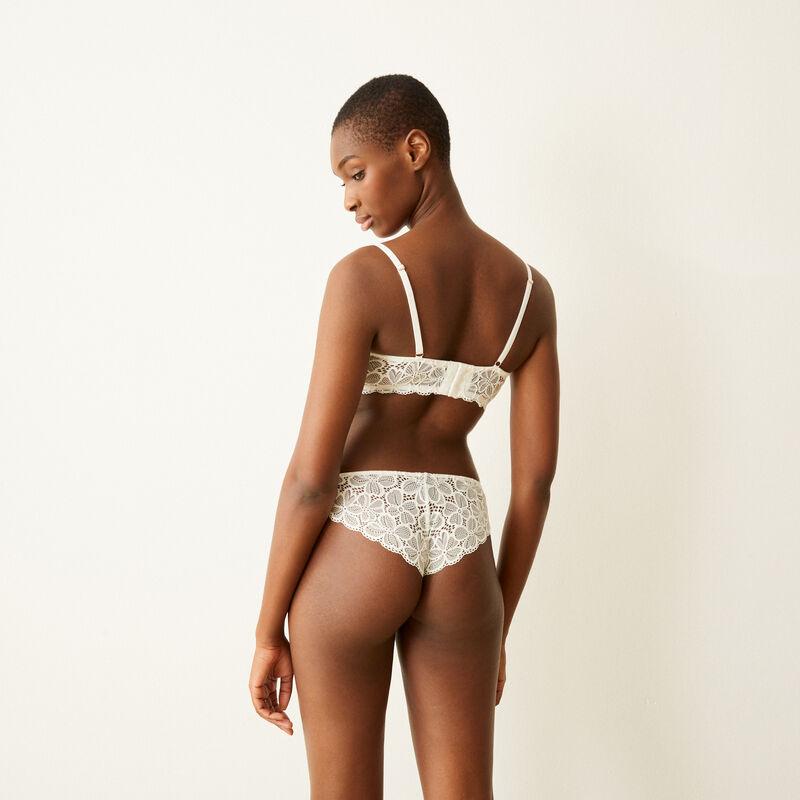 Lace tanga briefs - white ;