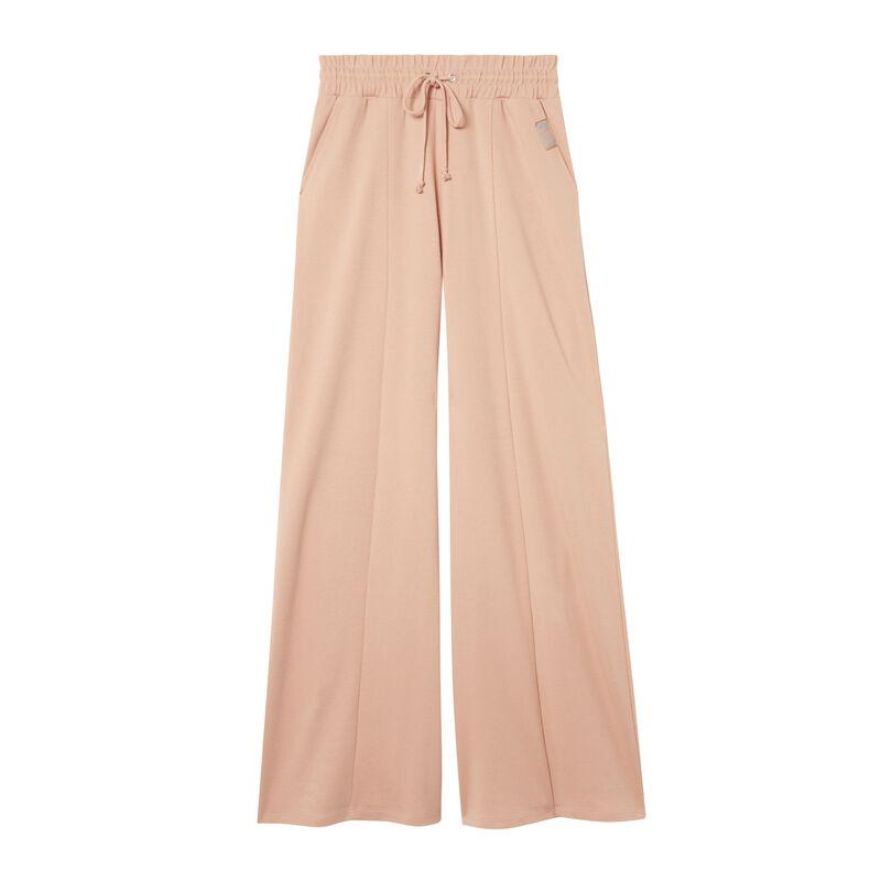 szerokie spodnie z marszczoną talią — nude;