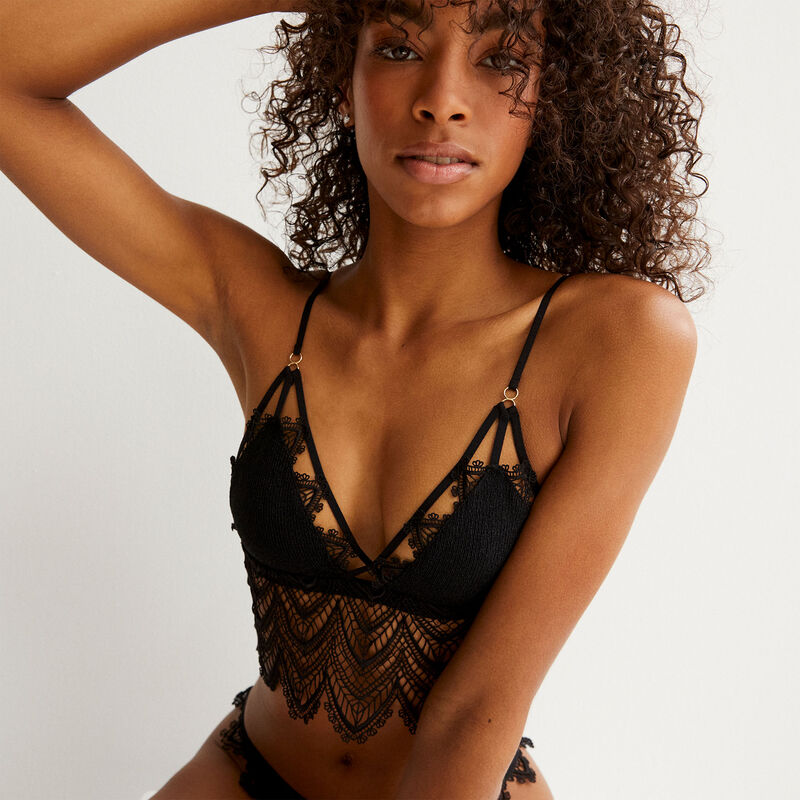 Guipure lace triangle bra without underwiring - black;