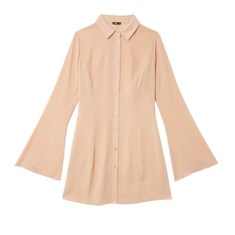 fitted satin shirt dress - beige;