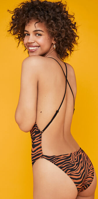 Afrozebriz brown one-piece swimsuit brown.