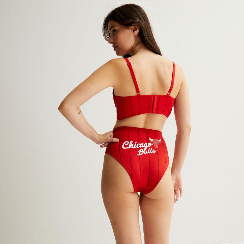 push up bra with lace-up bikini line - red;