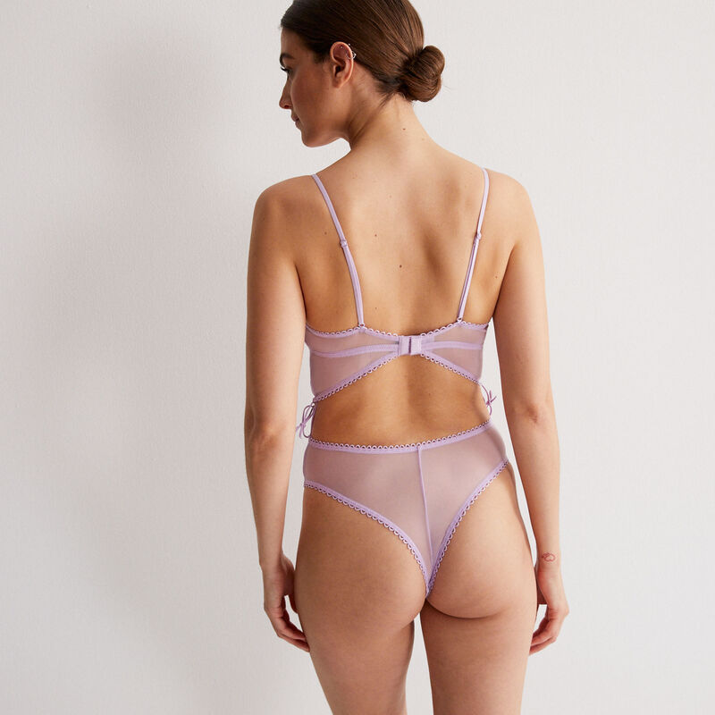 corset effect 100% lace body - lilac;