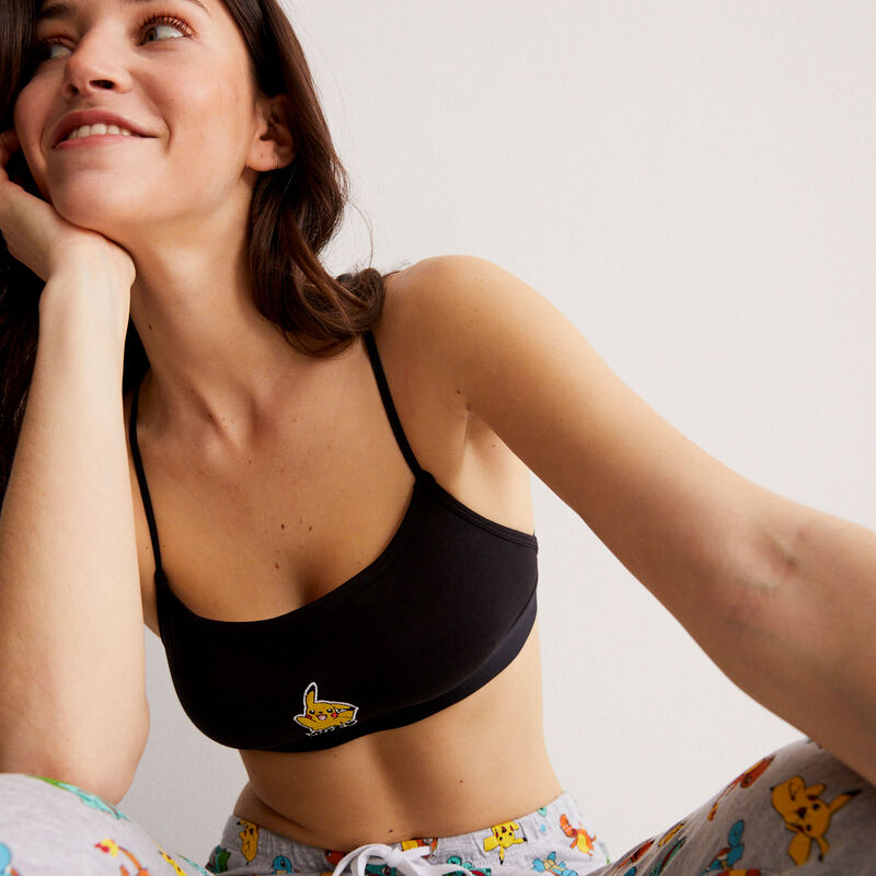Pikachu print bralette with strap details - black;