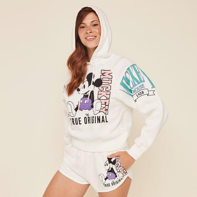 Mickeymousiz mickey print fleece sweatshirt with hood off-white.