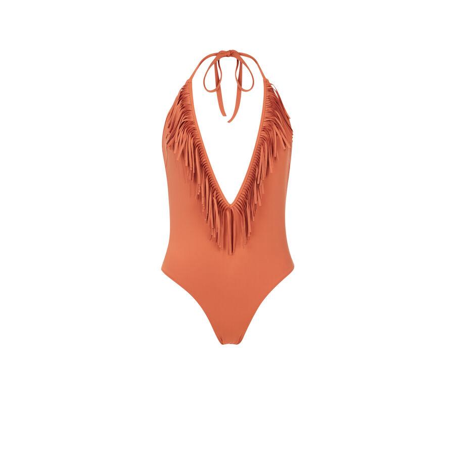 Doussiz camel-coloured one-piece swimsuit;