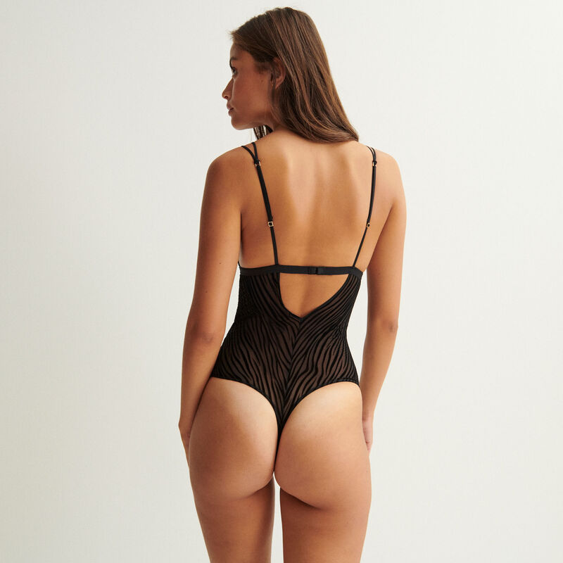 tulle bodysuit with straps - black;