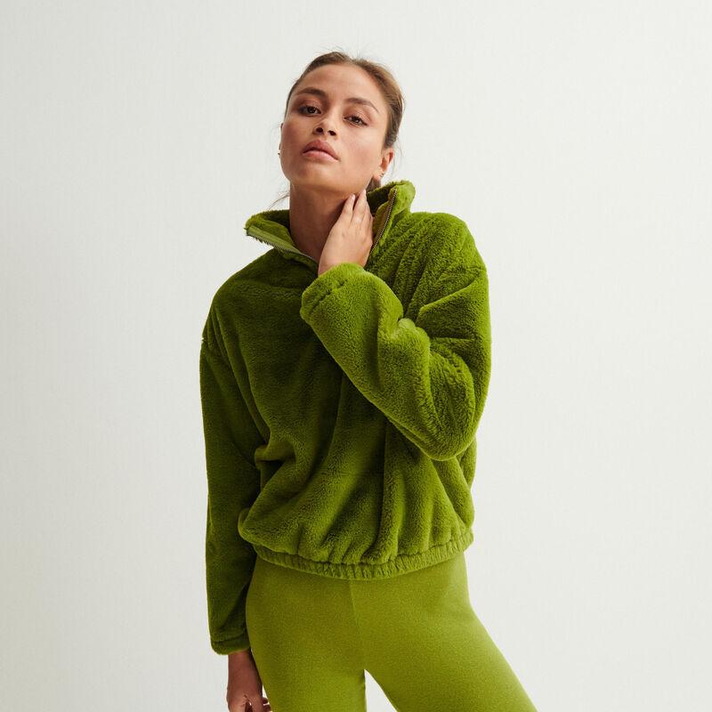 zip-up fleece sweatshirt - khaki;