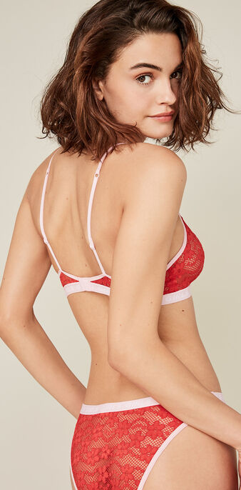 Juliz red triangle bra red.