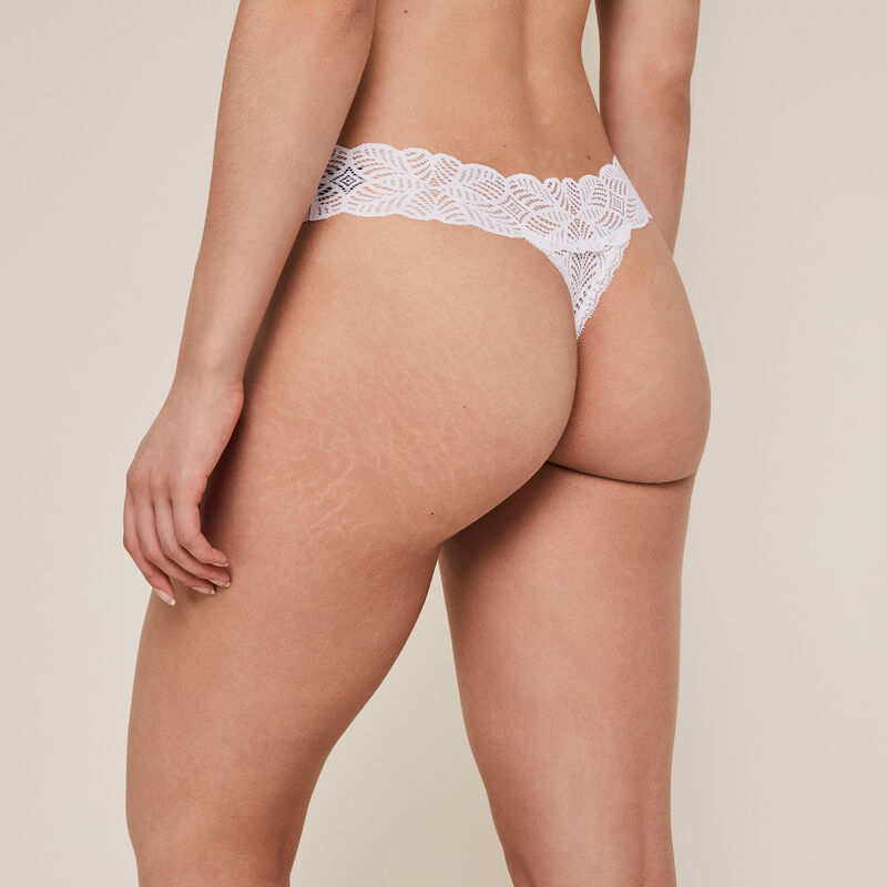Lace thong - white;