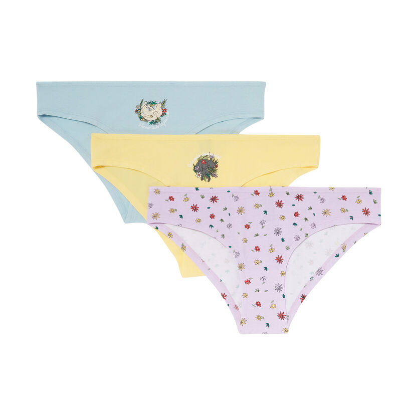 pack of 3 flowers mood briefs - lilac;